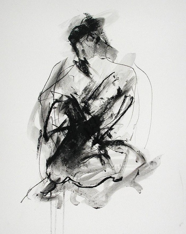 compressed charcoal on paper H 20 x W 15 inches SOLD