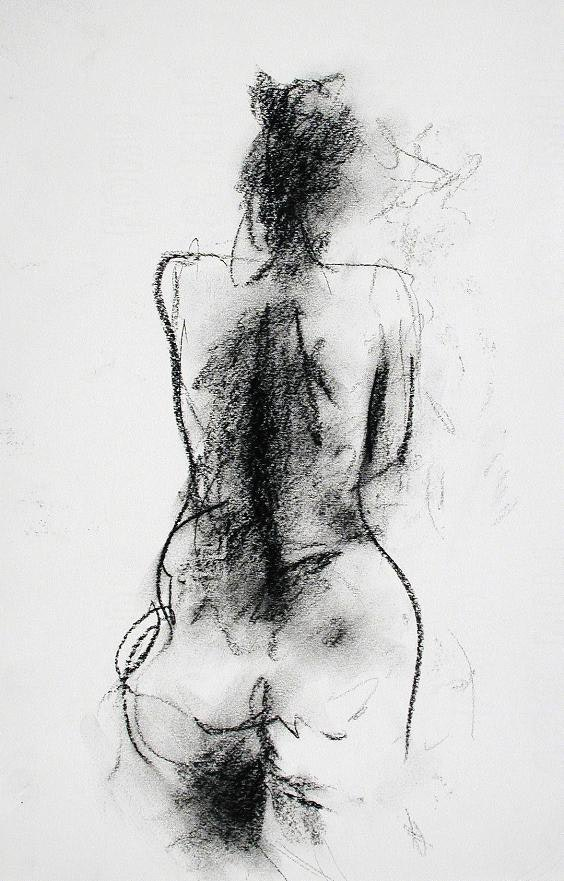 H 16 x W 10 inches compressed charcoal on paper SOLD