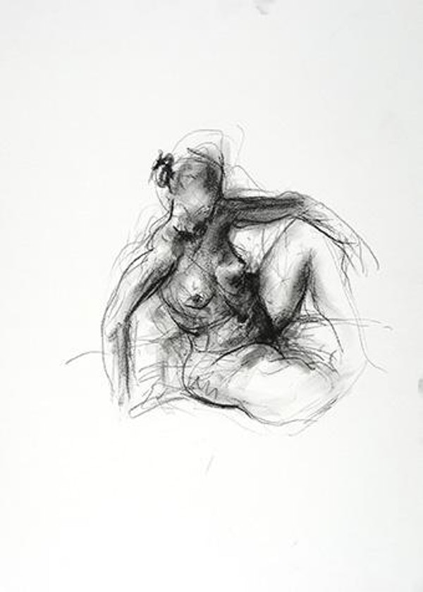 compressed charcoal on paper H 9 x W 9 inches SOLD