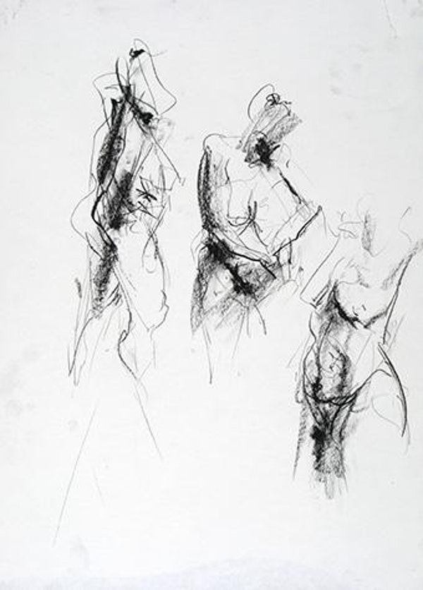 compressed charcoal on paper H 18 x W 14 inches SOLD