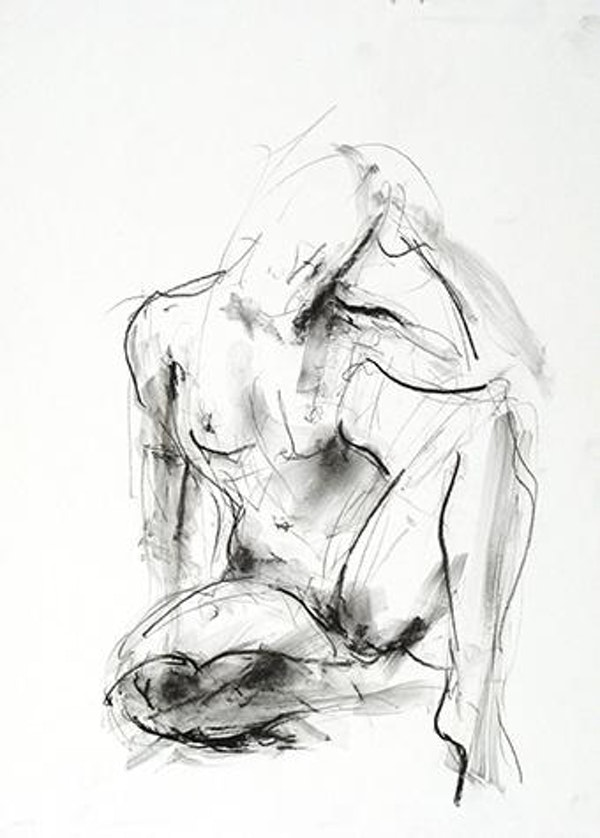 compressed charcoal on paper H 15 x W 10 inches SOLD