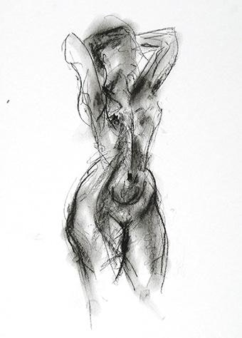 H 15 x W 10 inches compressed charcoal on paper SOLD