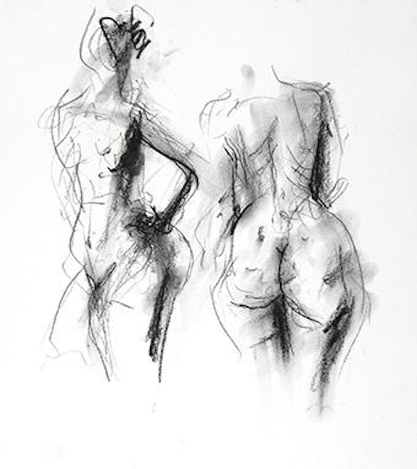 compressed charcoal on paper H 15 x W 13 inches SOLD
